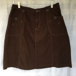 Cherokee brown 100% cotton skirt women's size 12